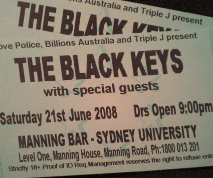 Black Keys Concert Tickets Sydney 21 June 2008